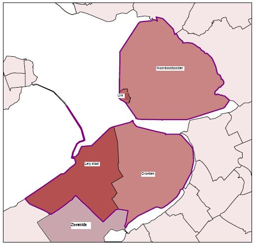 kaart van zogenaamde adherentie-gebied van Lelystad